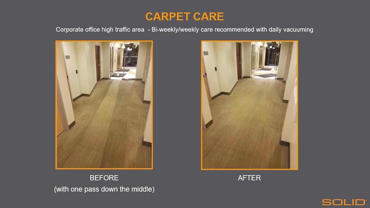 before after commercial carpet cleaning high traffic area corporate office building solid surface care
