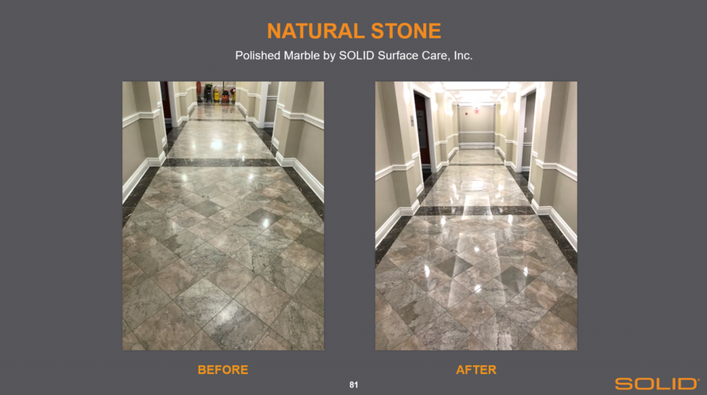 Natural stone maintenance polish before and after SOLID Surface Care